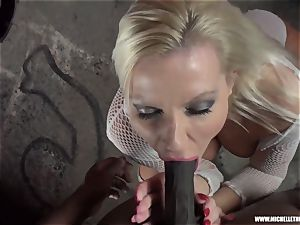 sloppy platinum-blonde stunner deep throats titty strokes boinks enormous ebony weenie