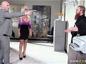 Bank robbing honey Bridgette B boinks in front of the boss