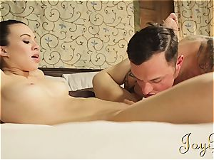 slender dark haired Tiffany ravaged by a tatted man