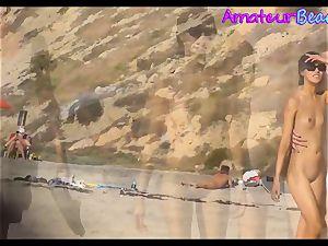 amateur nudist Beach duo walking Along The Beach