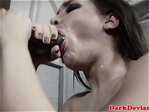 enslaved Gabi Paltrova facefucked with big black cock
