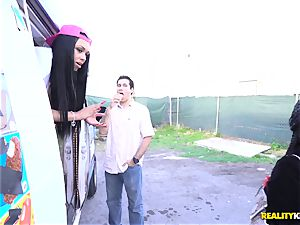 Raven Wylde and Bethany Benz facial cumshot in ice juice truck get poon fucked