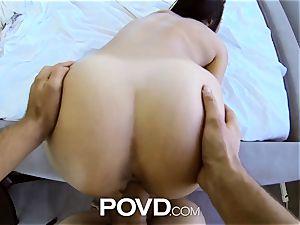POVD - bitchy nubile takes fake penis and licks jizz