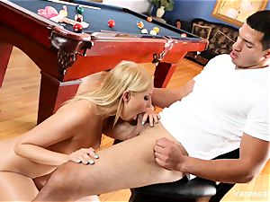 hotty Vanessa cell gets arched over the pool table