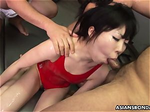 coated in wam lubricant and she gets group poked