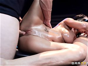 stiffy horny Peta Jensen gets shafted from both finishes