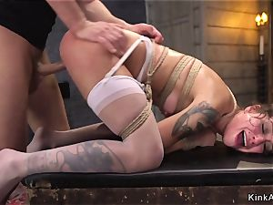 Deep gullet bitch rectal pounded in bondage