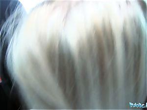 Public Agent fabulous Alexis Bardot pokes on backseat