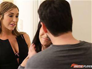 Eva Lovia nearly catches Christiana Cinn fucking with her hubby