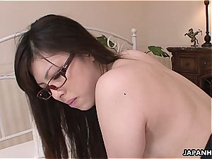 asian glasses wearing mega-bitch has a rear end style pulverize