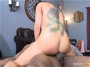 Romi Rain penetrates her super-fucking-hot black trainer in front of her stud