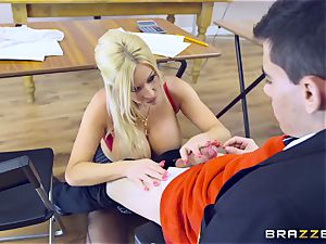 youthful fellow in college uniforms fucks his buxom lecturer Michelle Thorne