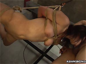 trussed up to a string and inhaling on the fellas