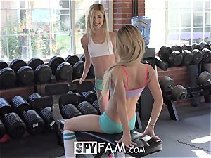 SpyFam Step step-brother Catches Step Sisters licking fuckbox