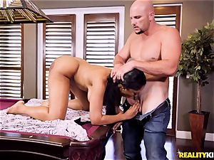 draped JMac wedges his gigantic sausage into ebony babe Moriah Mills