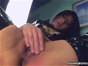 boinking her raw vulva as she wears her PVC shoes