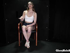 teenager female slurping gloryhole jizz from strangers