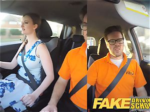fake Driving school Nerdy ginger-haired teenage schoolgirl