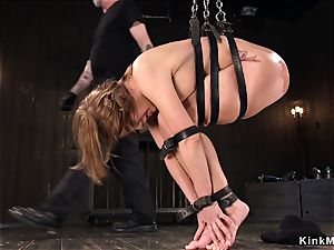 buxom lubed cutie vagina vibed in restrain bondage