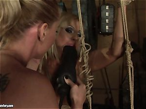 Kathia Nobili love drilling the super-steamy chick with dildo