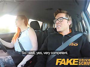 faux Driving school tattooed redhead craves a massive bone