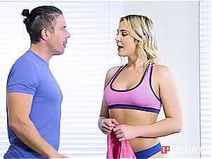 Blair Williams flashes some cock yoga after class