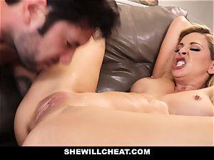 SheWillCheat cheating wifey Gags on boner