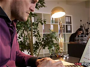 Office stunner finger-tickled And Pussylicked