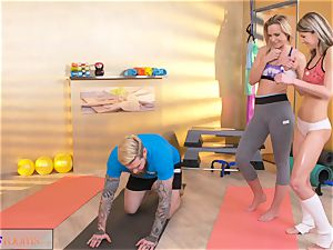 fitness rooms mischievous chicks entice meaty meatpipe gym trainer