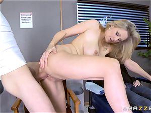blondie milf Julia Ann gargles a big beef whistle as his playmate sleeps