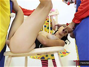 Dana Vespoli nailed by creepy humungous salami clowns