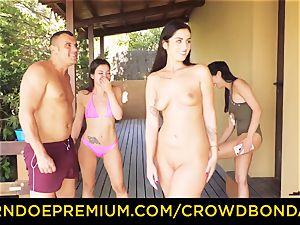 CROWD bondage Outdoor pool hump for sizzling Loren Minardi